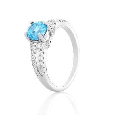 Серебряное кольцо с топазом Swiss blue (S002410)