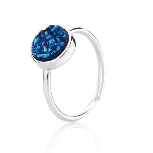 Серебряное кольцо безразмерное с кварцем (S002411)