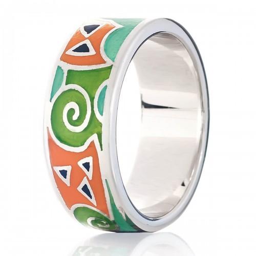 Серебряное кольцо с эмалью (S002553)