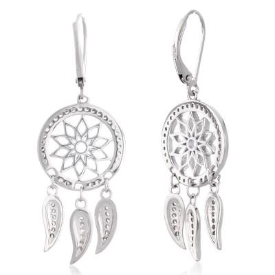 Серебряные серьги с цирконием белым (S002720)