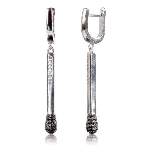 Серебряные серьги с цирконием черным (S002184)